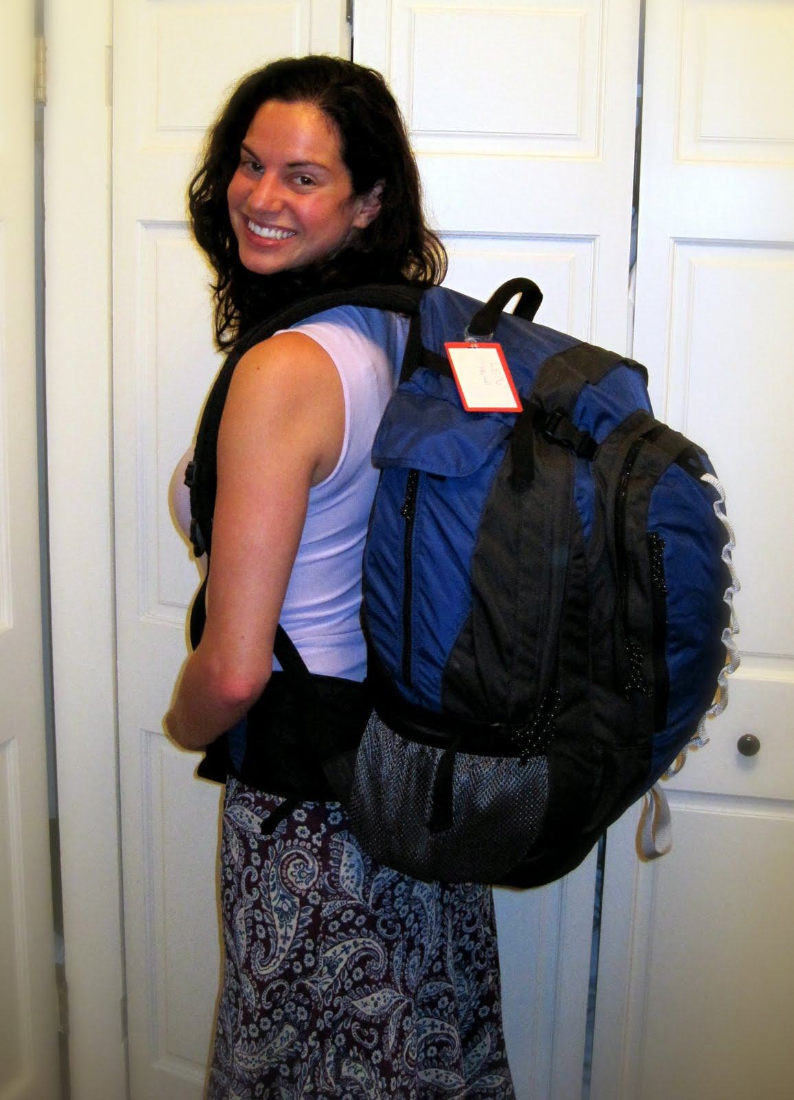 With the backpack that will take me around the world!