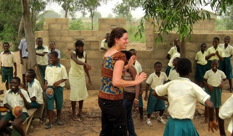 Dancing with students and teachers in Sogakope, Ghana.