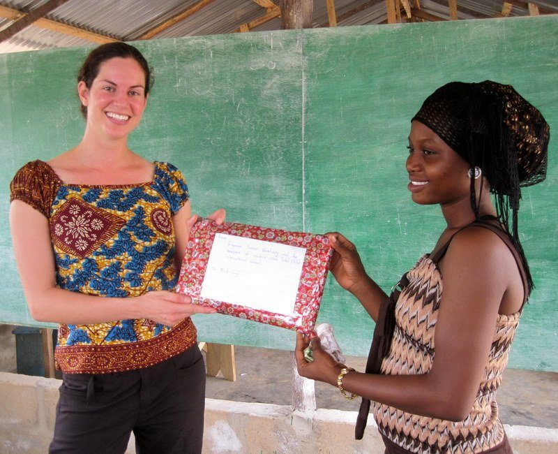 Being presented with a gift from the class.