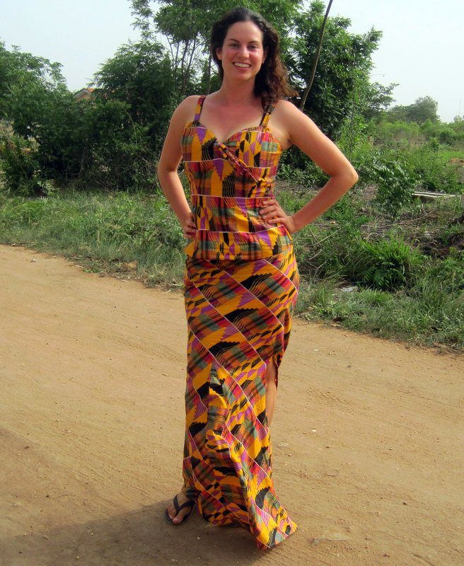 This is the resulting dress from the beautiful fabric students and colleagues gave me!