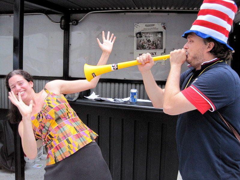 Vuvuzela in face