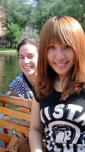 ESL student on swan boats