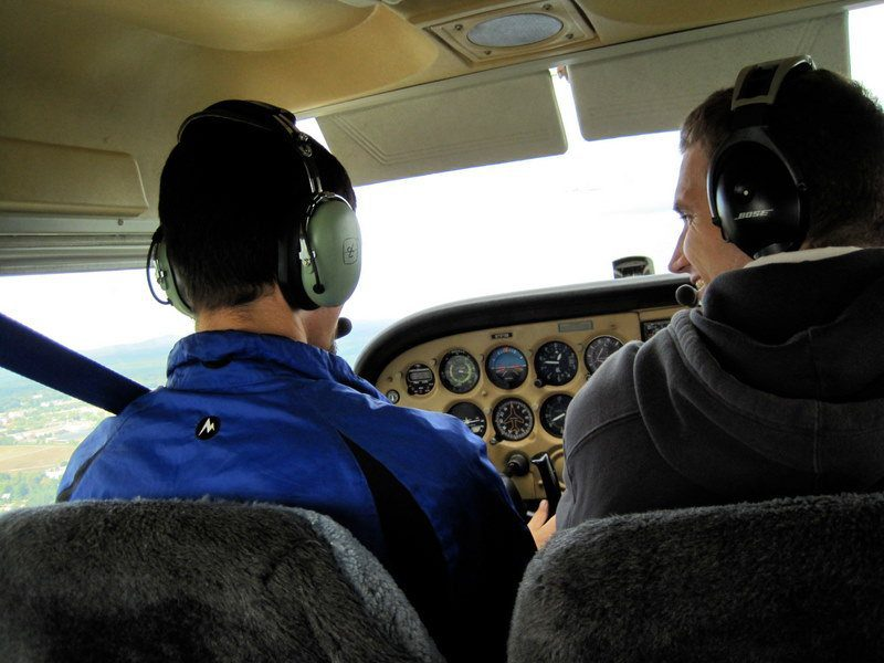 Flying a small plane at flight school classes in New Hampshire