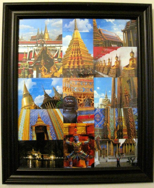 The framed Bangkok, Thailand Grand Palace photo collage. Pretty!