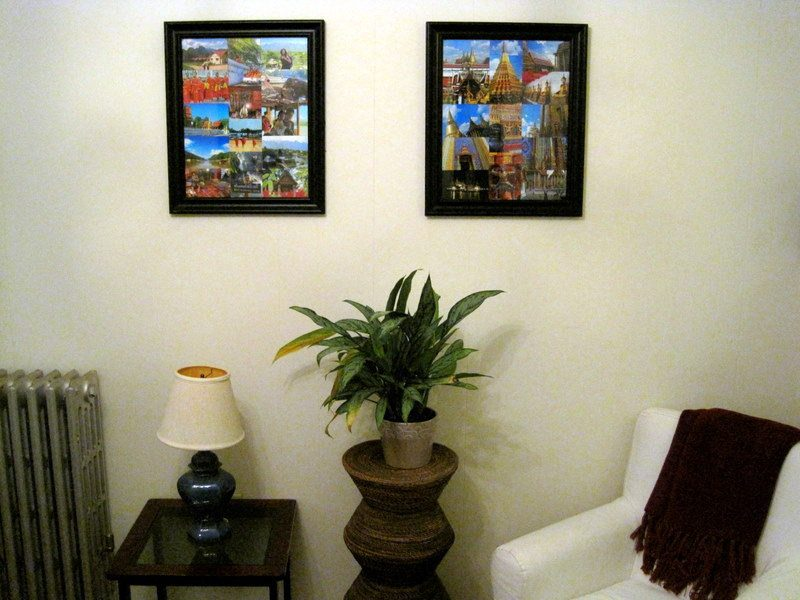 My Laos and Bangkok photo collages above my wilting plant!