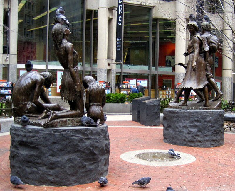The Irish Famine Memorial, were we stood to start our Seminar. Pigeons have no respect for the famine, nor public art!