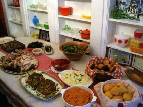 Our Thanksgiving spread! Read on regarding the Mystery Food.