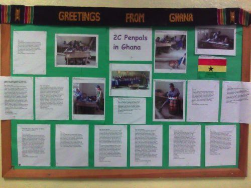 A poster from Newton, Massachusetts about their Ghana penpals!