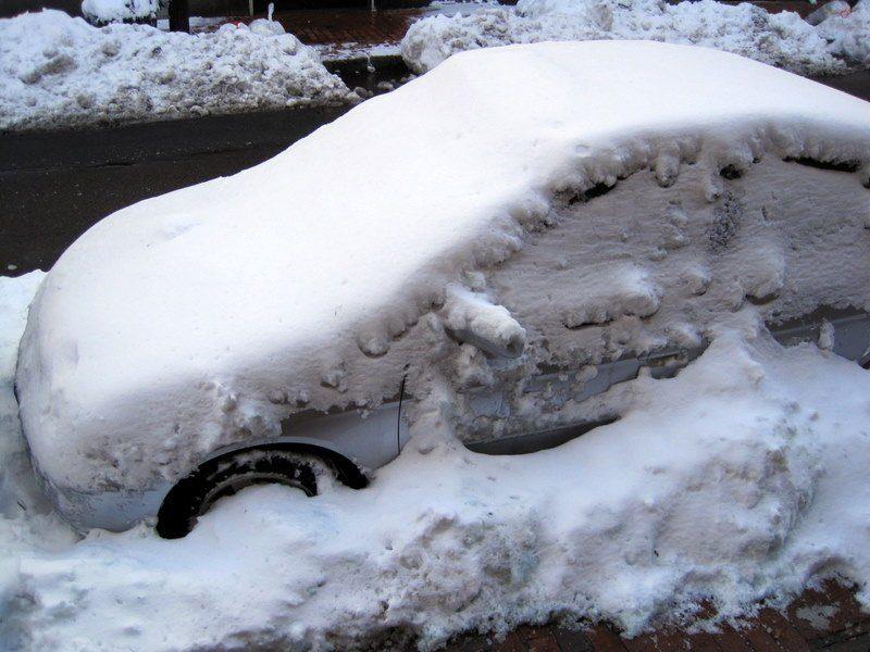Car snuggled in tight.