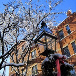 Wreath, lamp, happy tree.