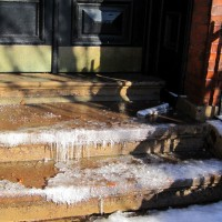 Icicle steps. Careful!