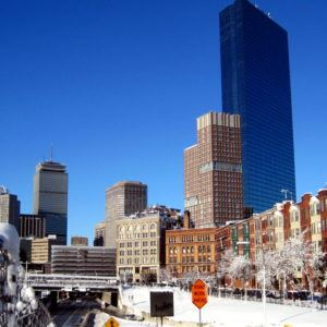 Frosting and Boston skyline.
