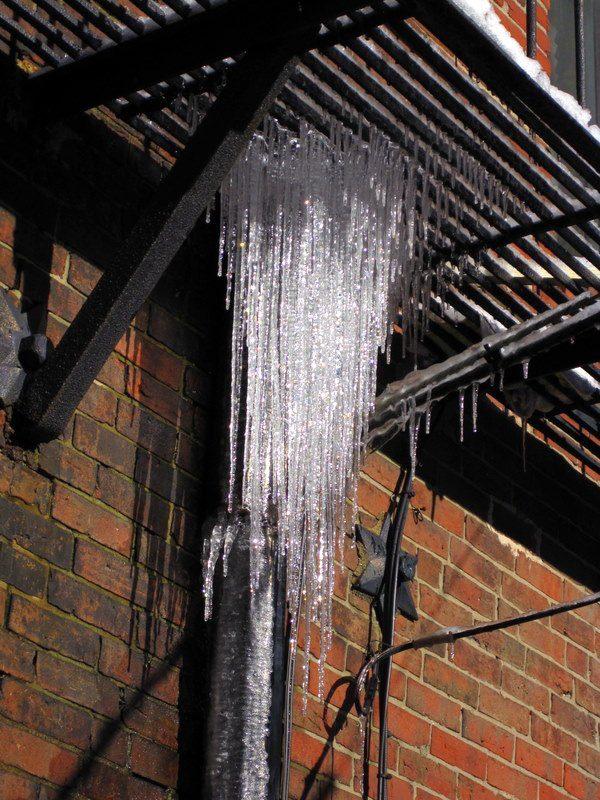A fire escape icicle chandelier.