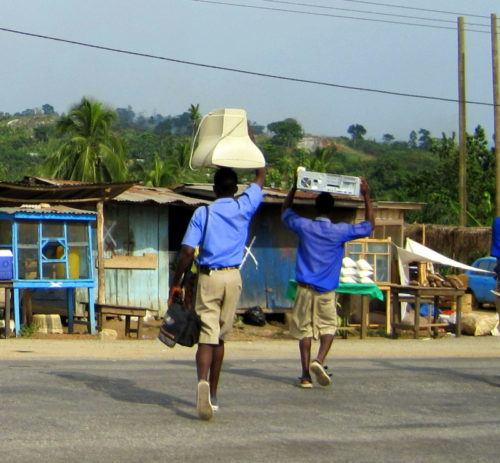 "A photo I took in Ghana last year: ""Computer on Head!"""