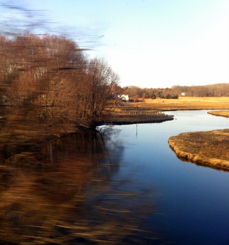 A sapphire river in the fields between BOS and NYC.