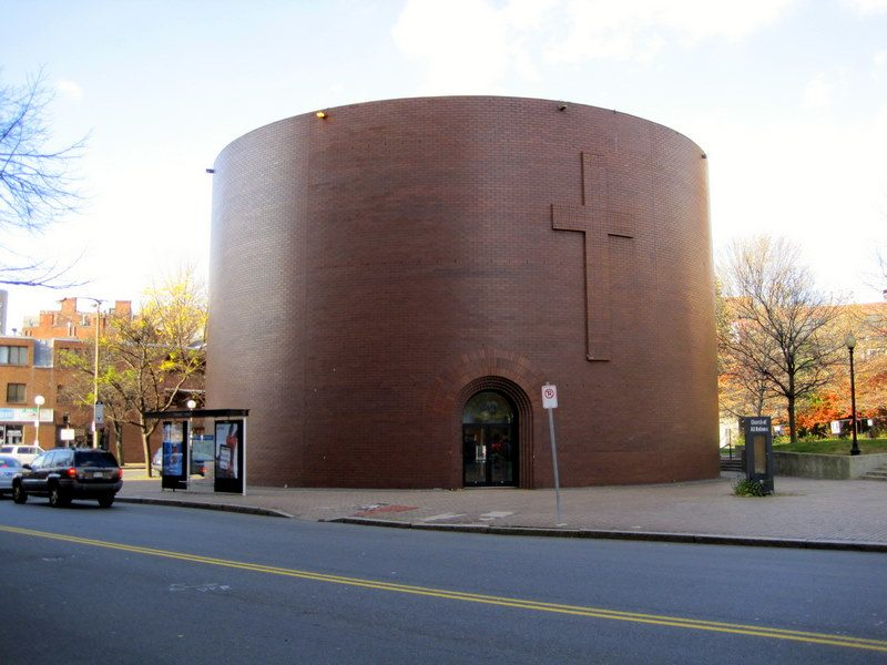 The mug-shaped church by Tufts Medical Station.