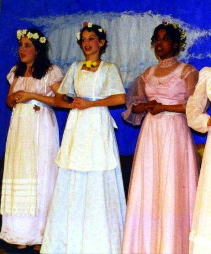 In the middle, singing in my 8th grade play!