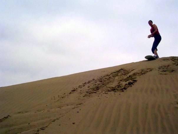 I start my graceful sandboard descent... so far so good!
