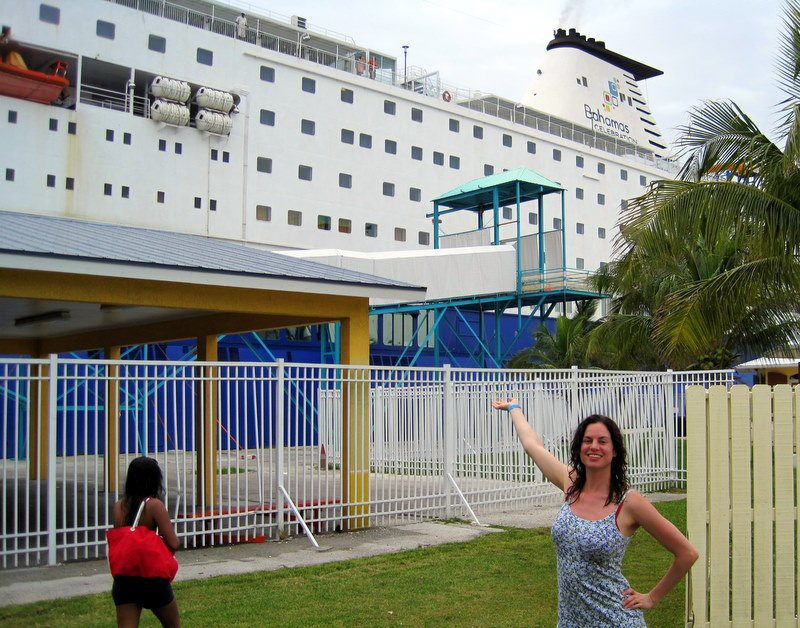 Me and our biiiiig boat, docked in the Bahams!