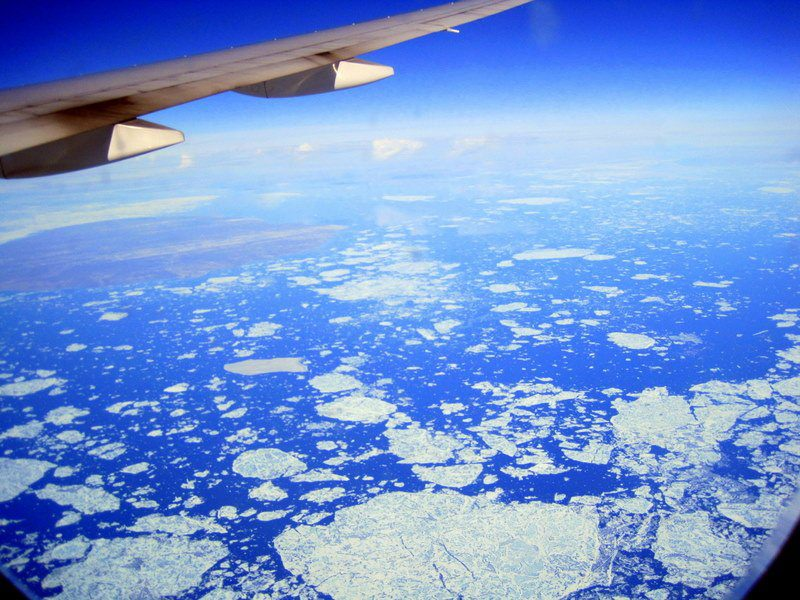 Flying over the cracked ice of Northern Canada!