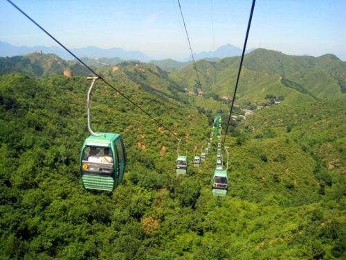 The cable car up to the Great Wall at Jinshanling!