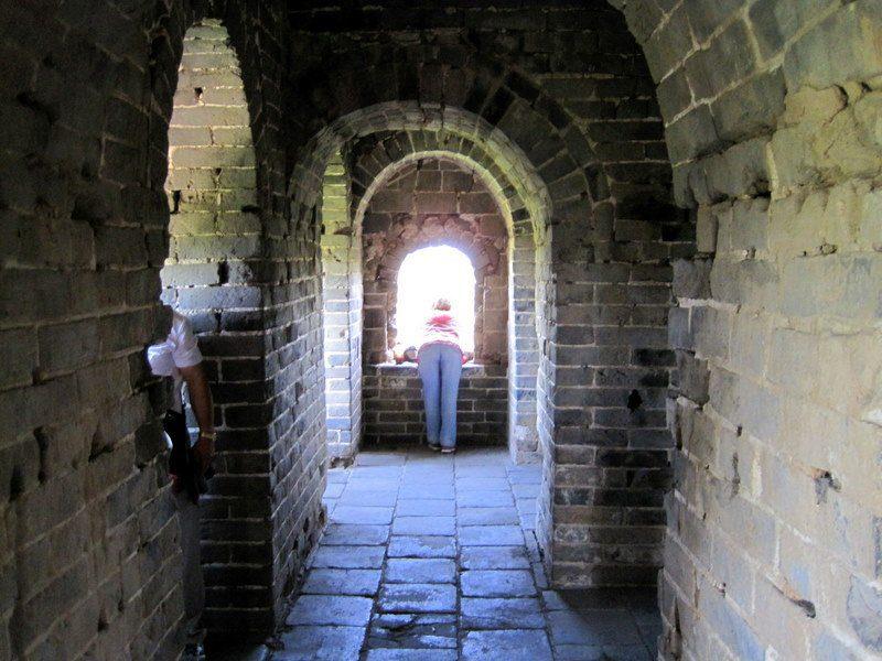 Guard towers are at regular intervals along the wall. Shade!