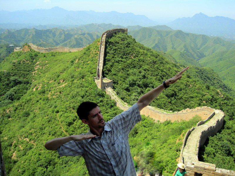Colin's awesome pose atop the Great Wall!