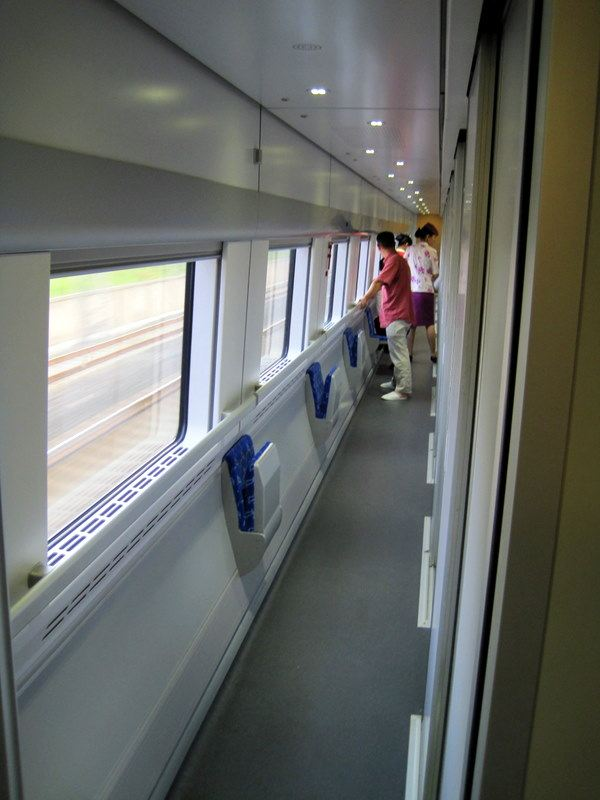 The sleek interior of China's D train.