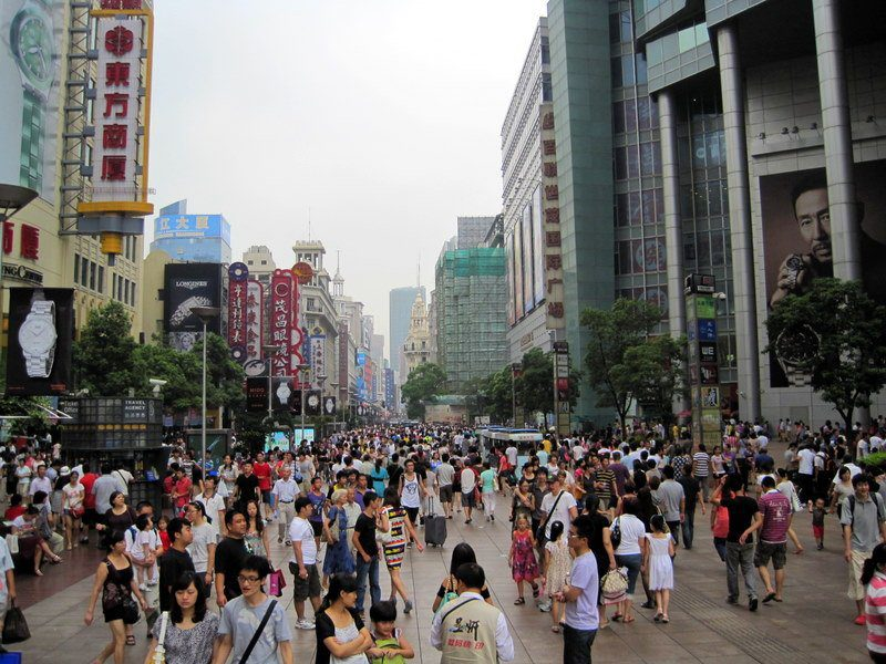 Crowded Nanjing Road in Shanghai.