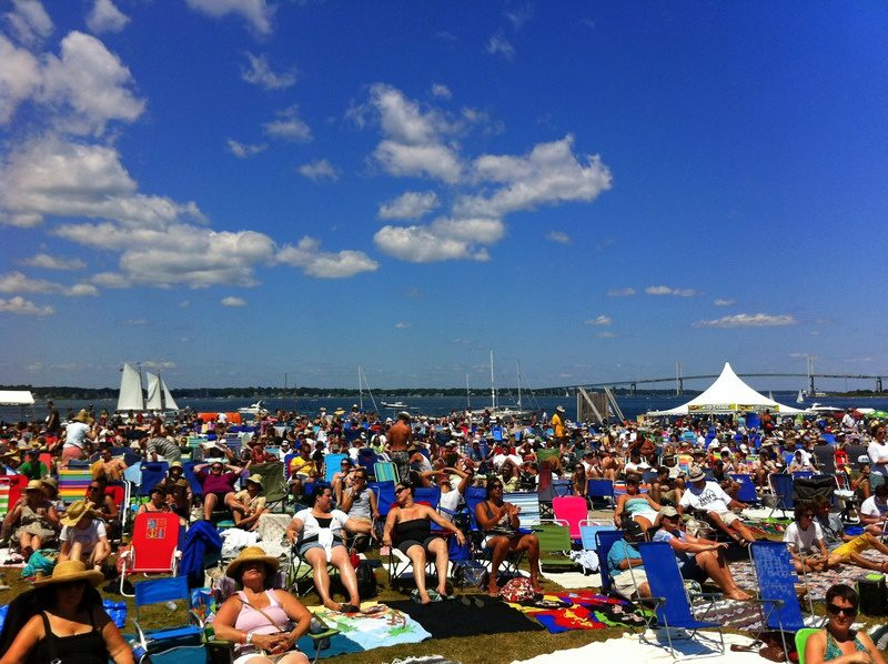 Thousands of people at the Newport Folk Festival in RI