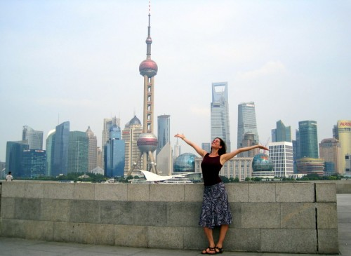 Me with the Shanghai skyline, slightly less 30 than today.