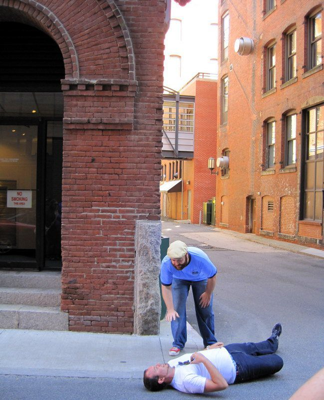 """Our guide egging a group member to pose """"dead""""!"""
