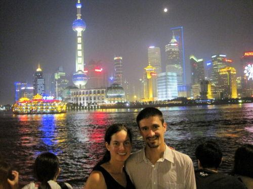 In front of the astoundingly futuristic Shanghai skyline.