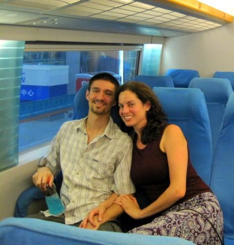 On the Maglev magnetic train in Shanghai. Onward!