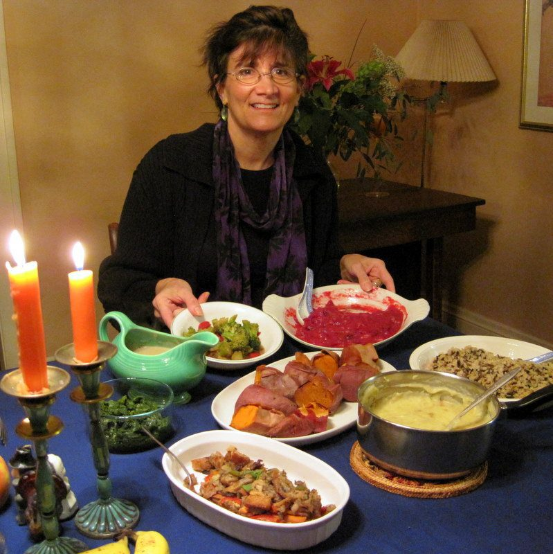 Diane displaying her delicious vegan Thanksgiving!