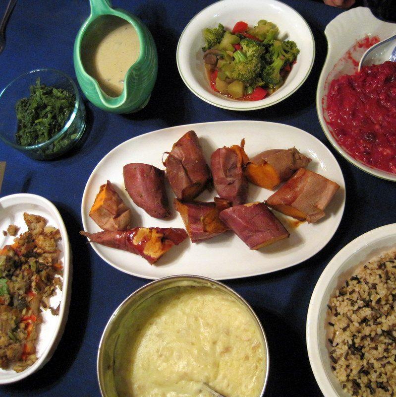 Baked yams, wild rice, steamed veggies...
