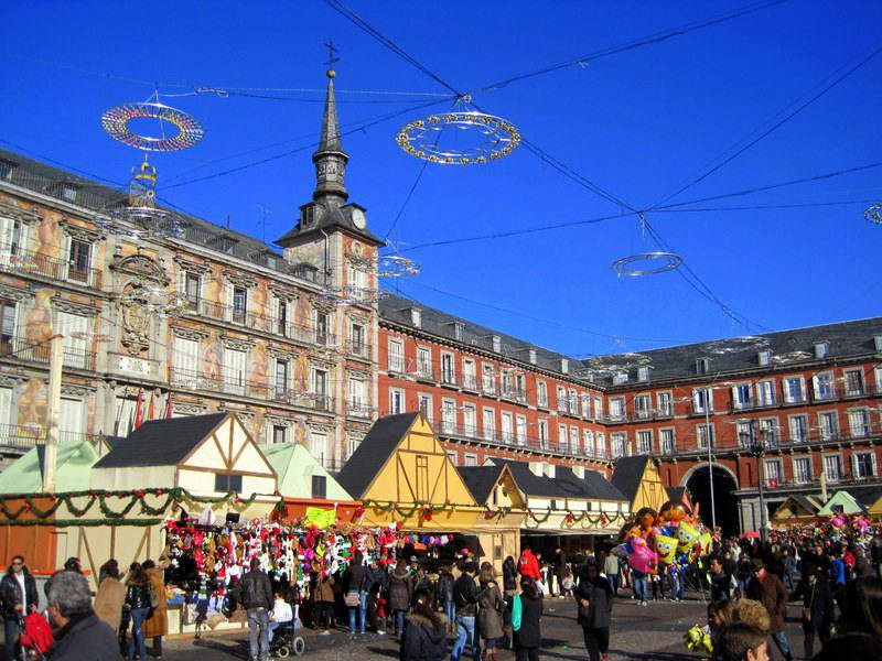 Madrid's giant, famous Plaza Mayor, decked out for the holidays.