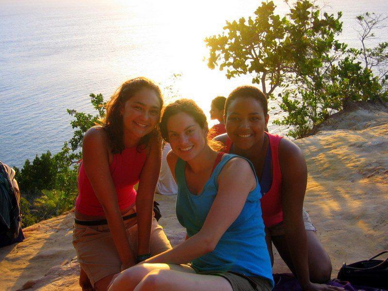 Making new friends (easy in Brazil!) on Morro de Sao Paolo.