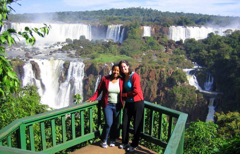 At splendid Iguazu Falls on the border with Argentina.