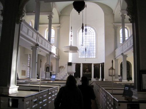 Boston's famous Old North Church in the North End. By 1727 there are 32 enslaved Africans worshiping there.