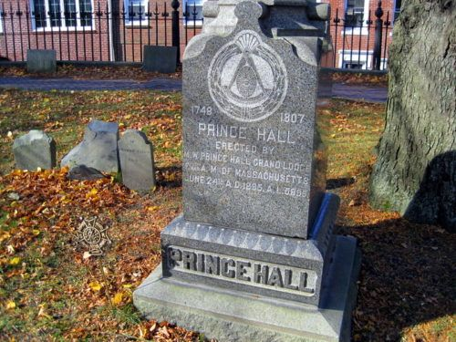 The grave of famous Prince Hall in Copp's Hill Burial Ground in Boston's North End. Note the Masonic symbol.