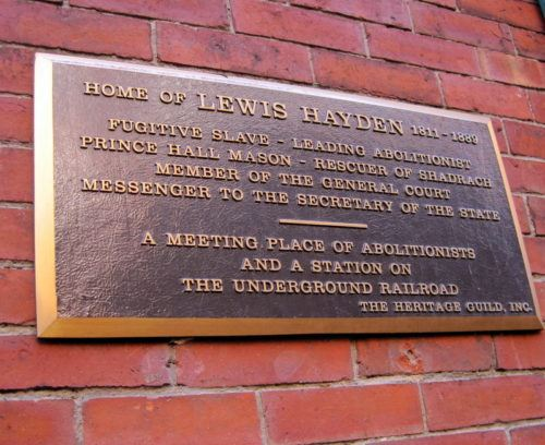 The plaque commemorating Lewis Hayden's inspirational life.