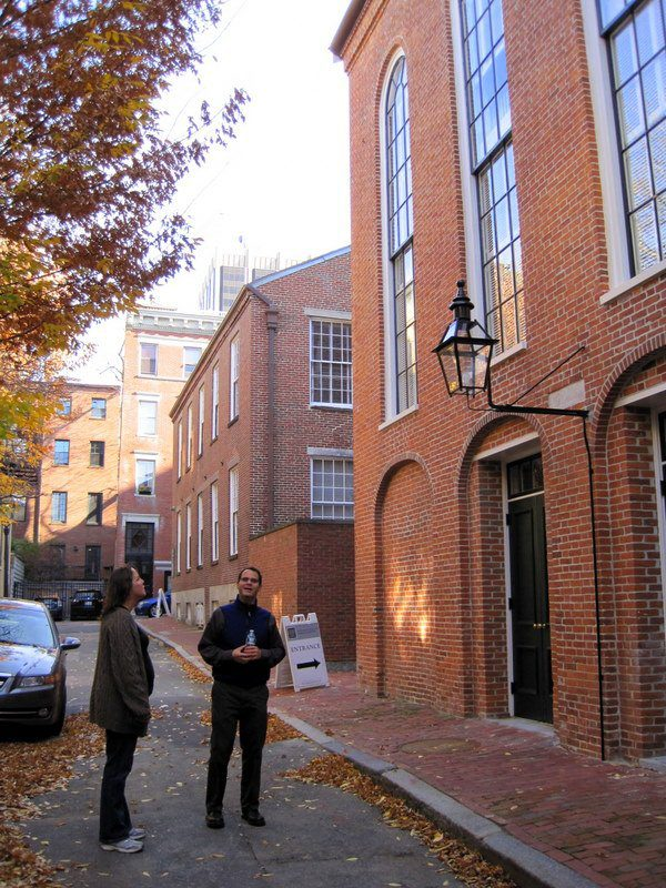 Standing outside the famous African Meeting House in Boston's Beacon Hill with our guide, Alex, and a fellow Boston teacher.