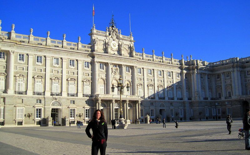 In front of Spain's Royal Palace in Madrid last week during a teacher training tour.