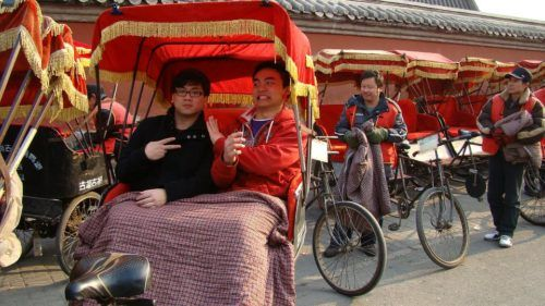 John (left) and friends during our rickshaw tour of a Hutong.