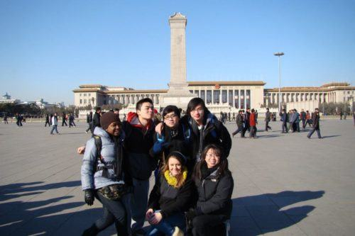 In famous, massive Tiananmen Square in Beijing.