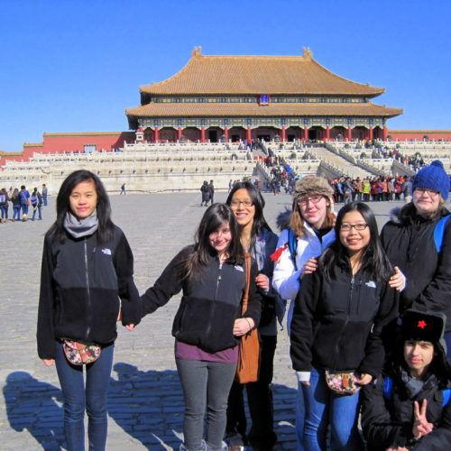 Michelle (far left) in the Forbidden City of Beijing, China!