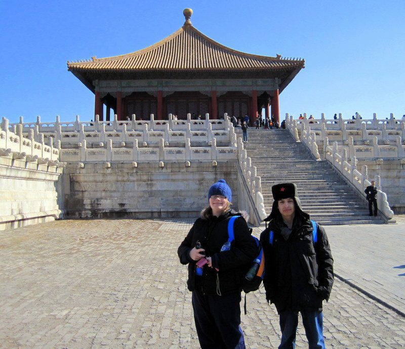 Elaina and Julio at the gigantic Forbidden City.