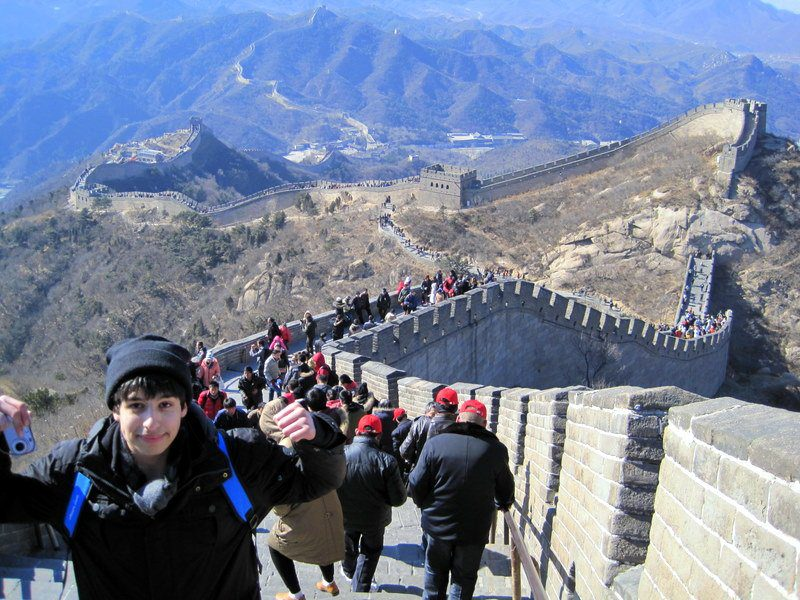 Julio bravely scaling the Great Wall of China!