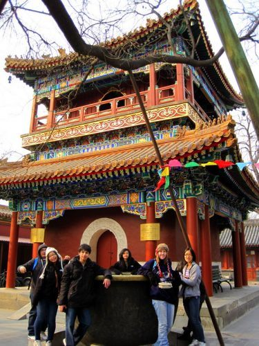 Michelle and friends at beautiful Lama Temple.